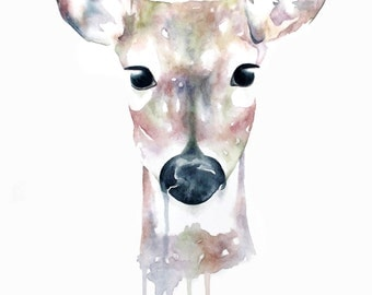 Deer Doe Watercolour Print