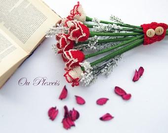 Handmade rose bouquet, crochet red rose, handmade flowers for valentine gift, cotton roses, wedding handmade bouquet, crochet flowers