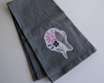 Bird Print Applique - Flour Sack Dish Towel
