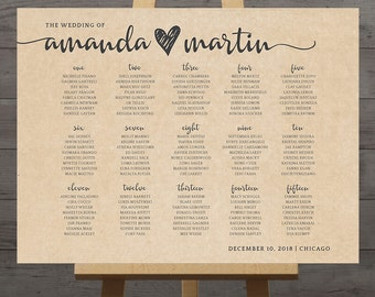 Large wedding seating chart, printable guest table assignment list, display sign, rustic wedding reception poster, DIGITAL customized PDF
