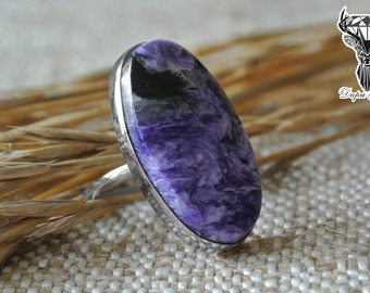 Big oval charoite ring boho style, oval stone ring, charoite ring