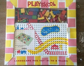 Vintage Playskool Landscape Peg Set New in Box