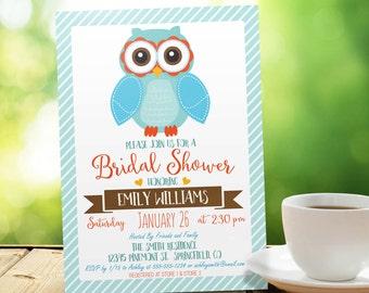Owl Bridal Shower Invitation - Personalized Printable DIGITAL FILE
