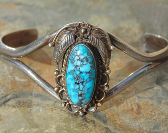 Native American Sterling and Oblong Turquoise Feather Cuff Bracelet