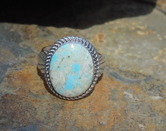 Wilson Padilla ~ Navajo Large Sterling Silver and Turquoise Ring - Size 13