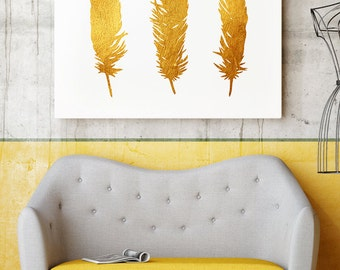 Bird Feathers Illustration -  Feather Art Poster - Gold Colors Print - Wall Art  - Home Decor