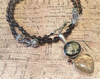 Smoky Quartz Pyrite in Magnetite Pendant Necklace, Smoky Quartz Necklace with Sterling Silver, Pyrite Magnetite Pearl Pendant Pearl Necklace