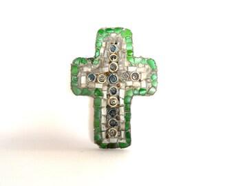 Mosaic cross,  one of a kind,  handmade, Christian symbol, wall hanging,