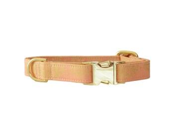 Royal Coral | Dog Collar - Autumn - Fall - Damask - Gold - Silver - Coral - Female - Metal Hardware - Collar perro - Oro - Fyrah