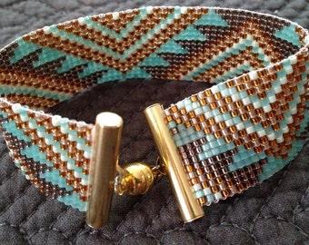 "Bracelet cuff - ""Golden Aztec"""