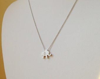 Personalized Initial Elephant Necklace,Tiny Elephant Pendant Necklace, Best Friend Gift.