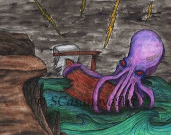The Kraken - Print of an original drawing