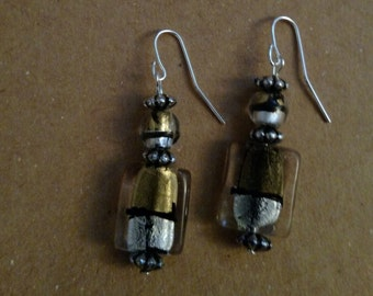 Gold and silver foil glass bead earrings