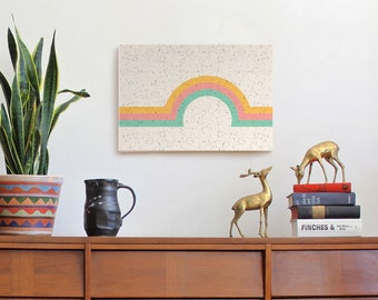 geometric wall art| rainbow art| yellow orange pink aqua | scandinavian art| canvas print | retro art | girls room | 70s | rainbow | vintage