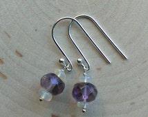 Sterling Silver Amethyst Earrings w/ Fire Opal ~ Beaded Opal Earrings ~ Amethyst Dangle Earrings ~ Opal Dangle Earrings ~ Welo Opal Earrings