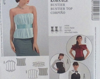 Burda pattern, misses Bustier Top, lined Bustier, 3 variations, size 6, 8, 10, 12, 14, 16, 18, 20, 22