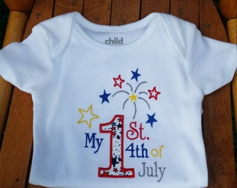 First 4th of July onesie, monogrammed onesie, appliqued onesie, personalized onesie, 4th of July, Red, White and Blue