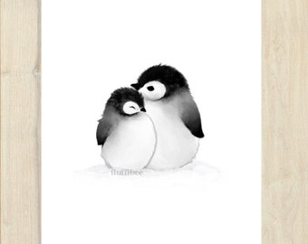 Penguin painting, bird prints, bird painting, baby chick, baby animal prints, baby animal nursery art, penguin nursery, penguin art