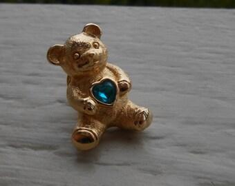 Vintage Gold Bear Pin W/ Green Rhinestone Heart. Gift For Mom, Anniversary. Teddy Bear, Gold