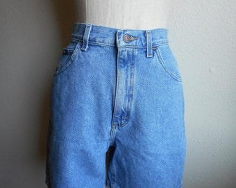 vintage 80s lee high waisted faded blue denim jean shorts