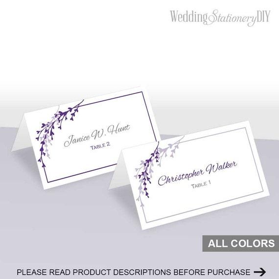 Items similar to Purple wedding place cards printable ...