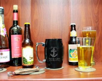Custom Barrel Mug, Personalized Barrel Mug, Custom Engraved Beer Mug, Personalized Beer Mug L-AlcoholSolution --BM-BL-Gregory