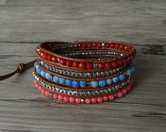 Gemstone wrap bracelet stack bead bracelet brown leather bracelet blue coral red beaded bracelet gypsy wrap bracelet leather Jewelry SL-0257