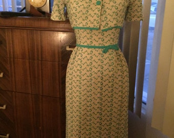 Amazing 1950's 2pc wiggle dress