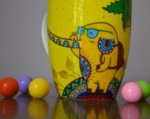 Elephant Selfie Mug Yellow Mug Cool Elephant Custom Cup Coffee Mug  Ceramic Animal Tea Mug Summer Time Gift Painted Palm Must have thing
