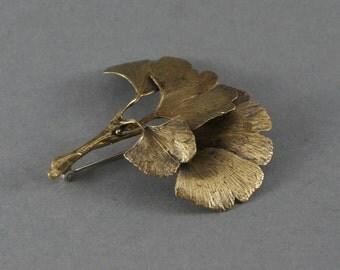 Golden Ginkgo Biloba Brooch,   Bronze  Ancient Ginkgo Tree Pin