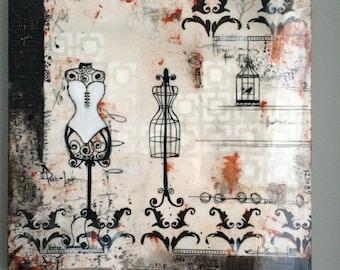 Abstract, Acrylic Painting,fashion wall art, Contemporary Art, Hand painted, Glassy finish, Beautiful, birdcage, vintage, Artsomi original