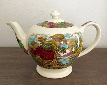 "Vintage Teapot; Sadler ""Country Life"" Teapot; English Staffordshire Teapot; English Teapot; Ceramic Teapot; James Sadler Teapot"