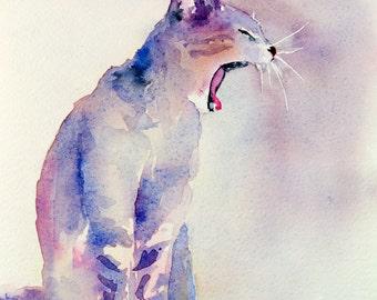Original watercolor of a yawning cat, original painting of a yawning cat