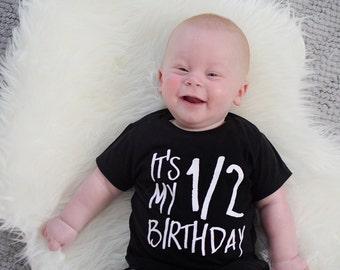 half birthday shirt, half birthday boy, half birthday outfit, one half of one, 1/2 birthday tee, half shirt,  birthday shirt, halfway to one