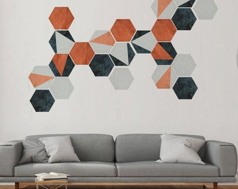 Self Adhesive Textured Wall Decal, Terracotta, Slate, Stone Removable Honeycombs