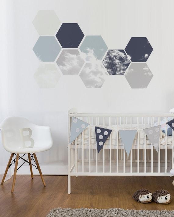 Nursery Wall Decal Removable Geometric Wall Art Soft Blue