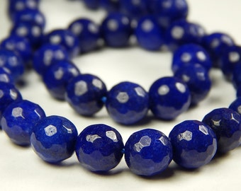 15 Inch Strand - 8mm Faceted Sapphire Blue Jade Beads - Gemstone Beads - Jewelry Supplies