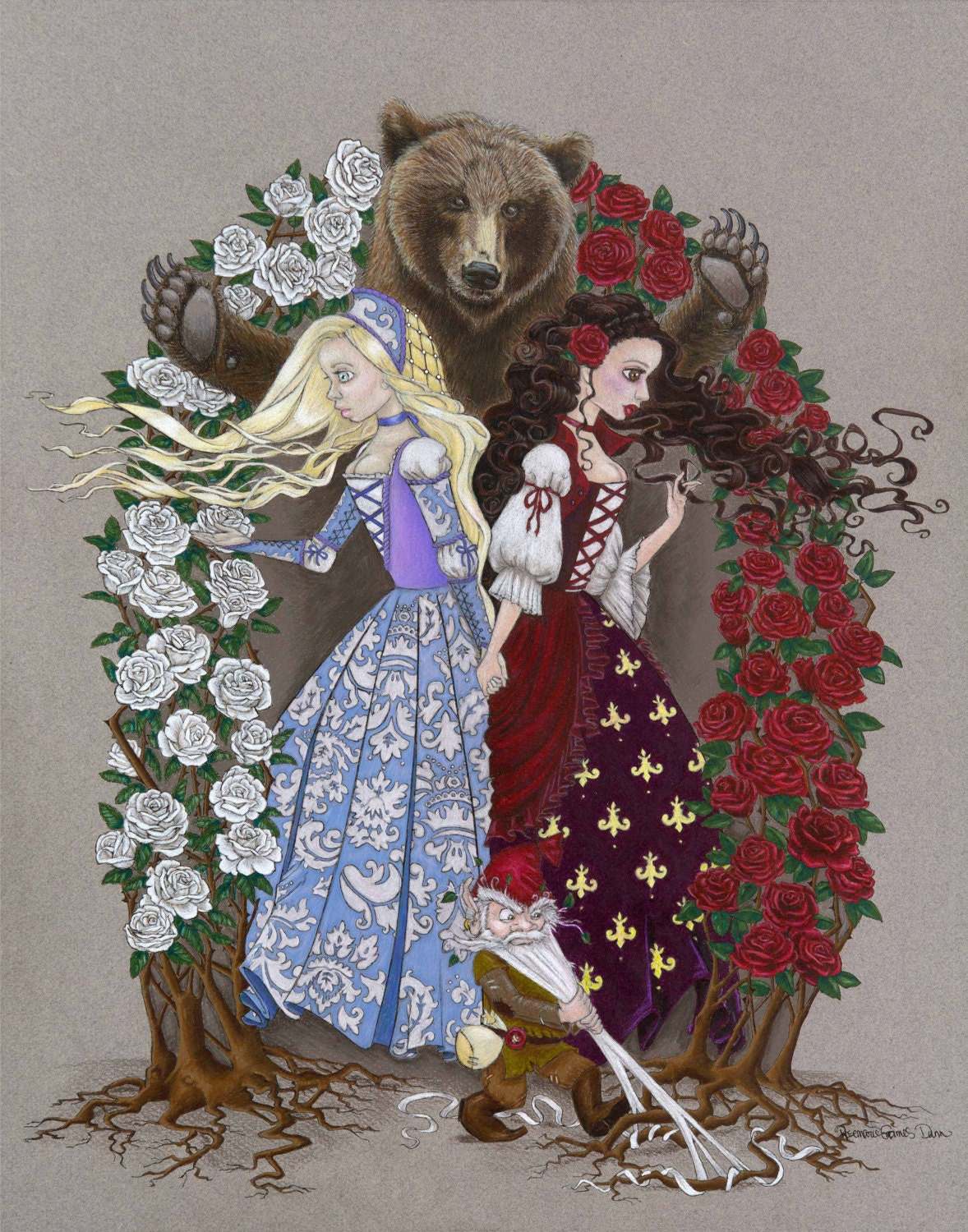 Snow White And Rose Red Fairy Tale Print