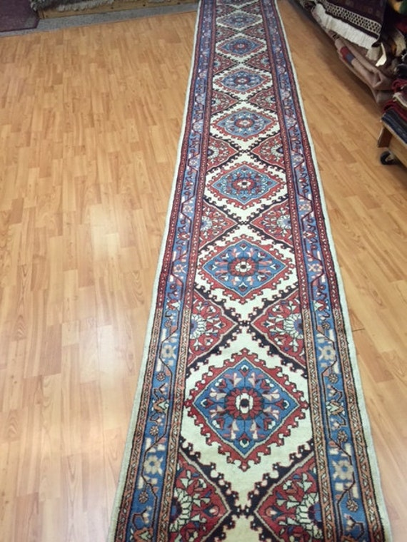 "2'5"" x 22'4"" Persian Hamadan Floor Runner Oriental Rug - Hand Made - 100% Wool"