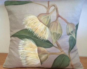 Hand-painted Linen Eucalyptus Throw Cushion