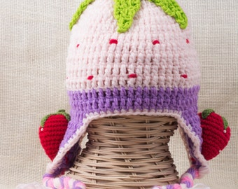 Strawberry Crochet Hats for Kids, Winter Hats for Girls