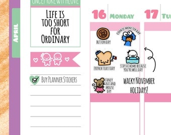 Wacky Holidays - November Planner Stickers (W11)