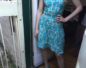 SALE DIRTY DANCING Baby Silky Summer Dress Blue Floral A Line Skirt 1950s Style Small Rockabilly Picnic