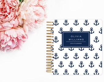 Anchor Agenda, Navy Blue Planner, Personalized, Weekly Planner, Nautical Agenda