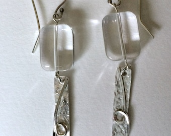 Rock Crystal and Sterling Silver Wire Drop Earrings