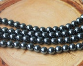 6mm Hematite Round Gemstone Silver Gemstone Beads Jewelry Supply Dark Silver Metal Beads