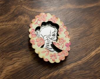 Mint Vintage Floral Skull Cameo Brooch