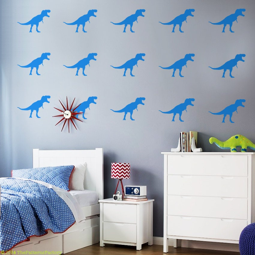 T rex wall decal dino decal background modern wall decal for T rex bedroom decor