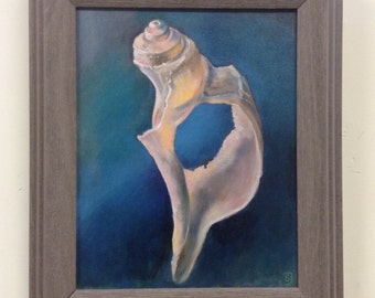 Seashell Oil Painting, Original Shell Painting, Framed Seashell Painting