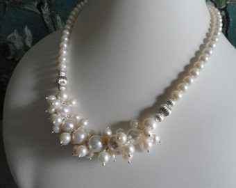 Pearl necklace and earring set  -   #445